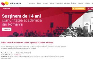 45 de zile de acces gratuit la Thieme e-journals si Thieme textbooks