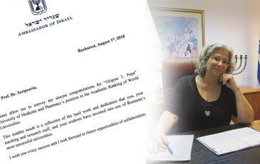 Ambasadorul statului Israel în România felicită conducerea UMF Iași pentru rezultatul deosebit obținut în Top Shanghai 500