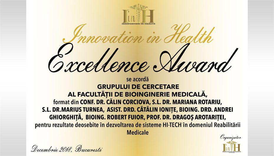 Premiul de excelenţă Innovation in Health pentru Facultatea de Bioinginerie Medicală
