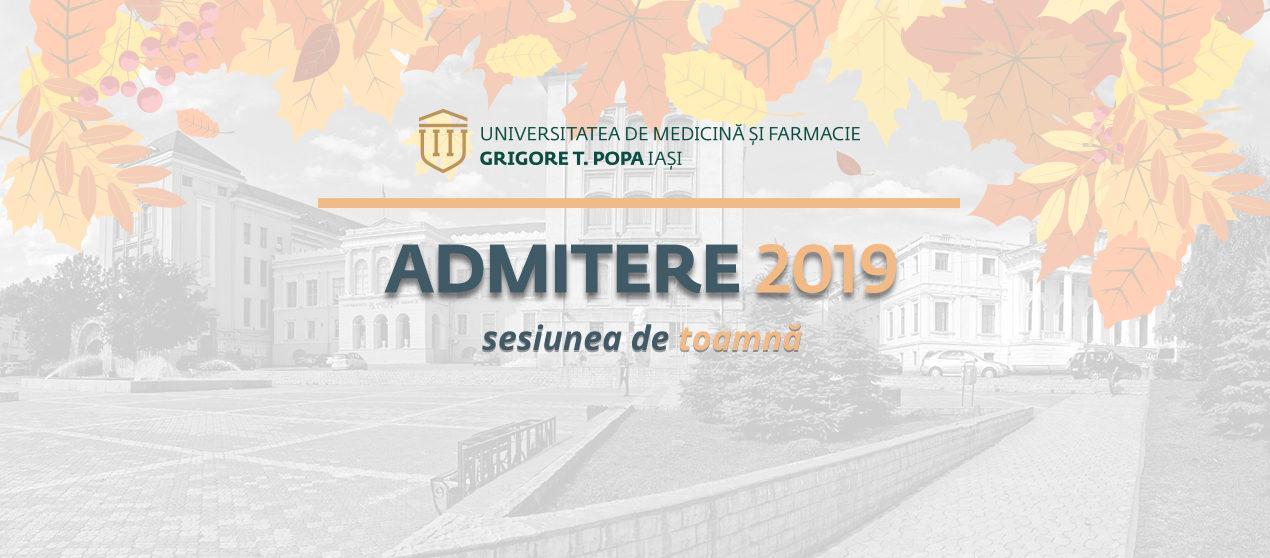 Situația finală a înscrierilor la concursul de admitere, sesiunea septembrie 2019