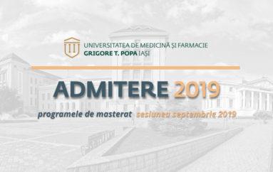 Admiterea la programele de masterat – sesiunea septembrie 2019