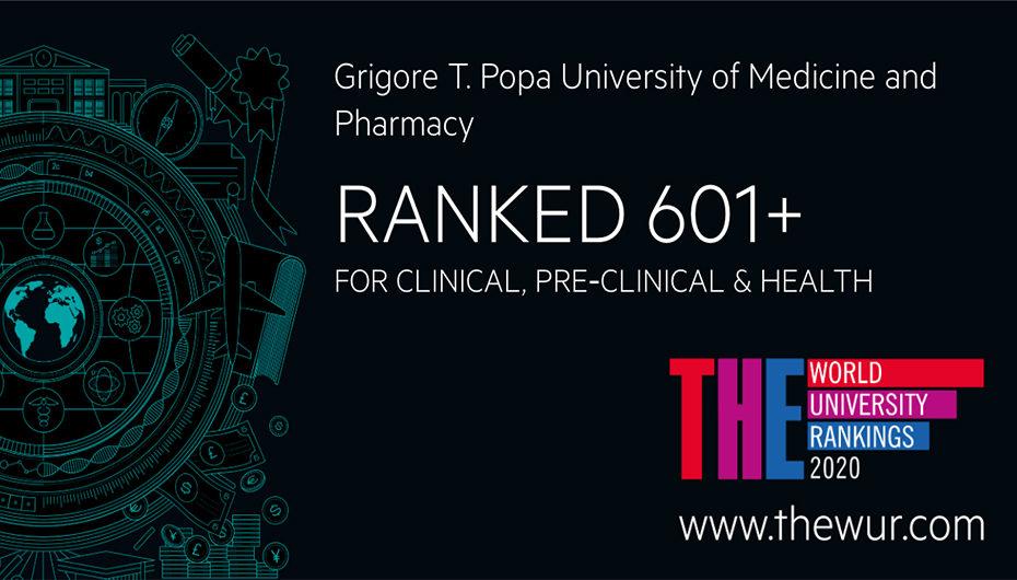 UMF Iași, singura universitate de medicină și farmacie din România prezentă în cel mai prestigios clasament internațional, în categoria: Clinical, Pre-clinical and Health