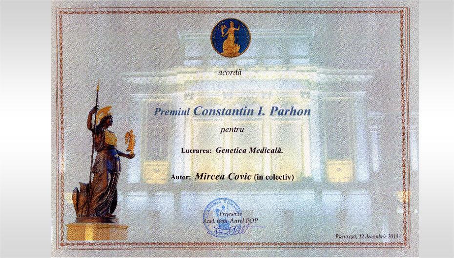"""Tratatul de """"Genetică medicală"""" a primit premiul """"Premiul C.I. Parhon"""" al Academiei Române"""