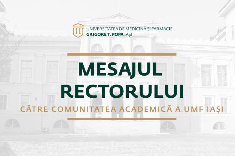 VIDEO – Mesajul rectorului către comunitatea academică a UMF Iași – 26 martie 2020