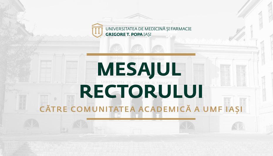 Mesajul rectorului către comunitatea academică a UMF Iași