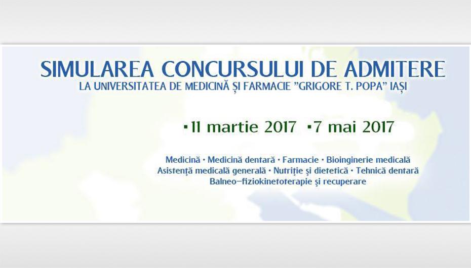A doua simulare a concursului de admitere la UMF Iași – 7 mai 2017