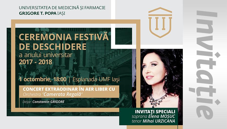 UMF Iași vă invită la ceremonia de deschidere a anului universitar 2017-2018