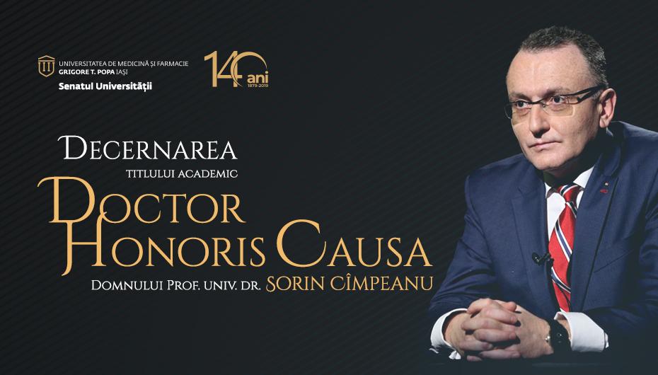 Prof. univ. dr. Sorin Mihai Câmpeanu va primi titlul de Doctor Honoris Causa din partea UMF Iași