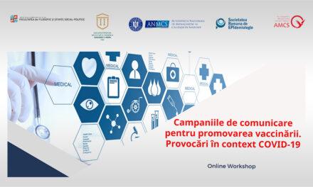 Workshop online: Campaniile de comunicare pentru promovarea vaccinărilor. Provocări în contextul COVID-19