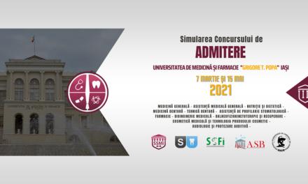 Simularea Concursului de Admitere: 7 martie și 15 mai